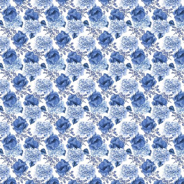 Blue Rose Digital Art - Beautiful Blue Floral B by Jean Plout