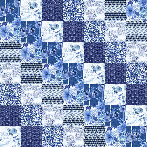 Quilt Digital Art - Beautiful Blue Floral J by Jean Plout