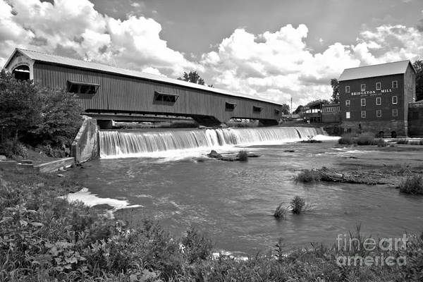 Photograph - Beautiful Blue Skies Over Bridgeton, Indiana Black And White by Adam Jewell