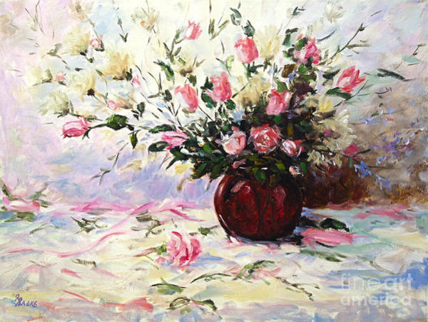 Floral Shower Curtain Painting - Beautiful Bouquet Of Roses by Richard T Pranke