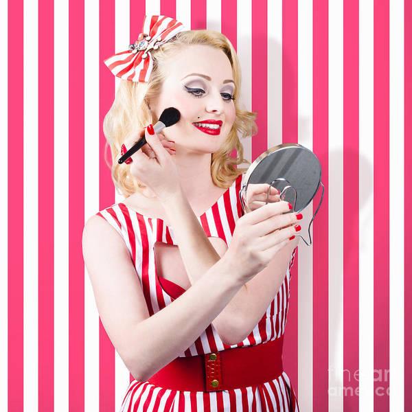 Photograph - Beautiful Cosmetic Woman Applying Make-up Base by Jorgo Photography - Wall Art Gallery