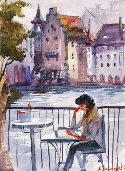 Wall Art - Painting - Beautiful Day, Reading by Kristina Vardazaryan