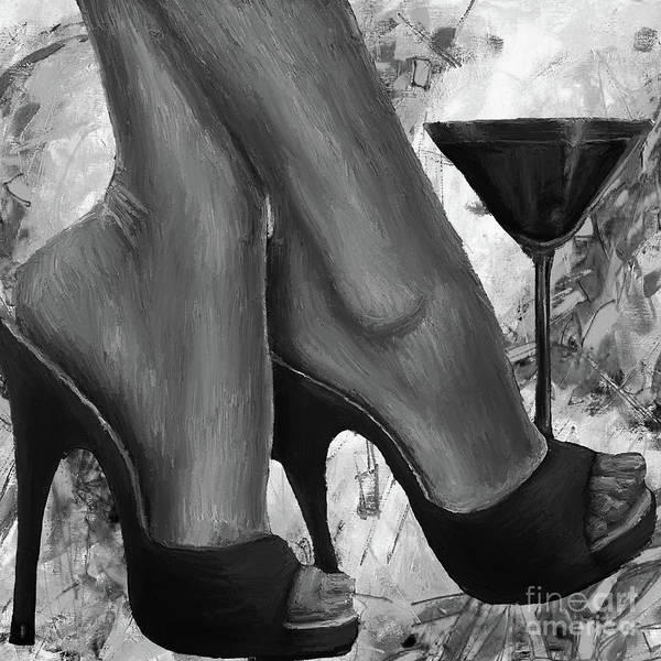 Crossed Legs Painting - Beautiful Feet With Wine  by Gull G