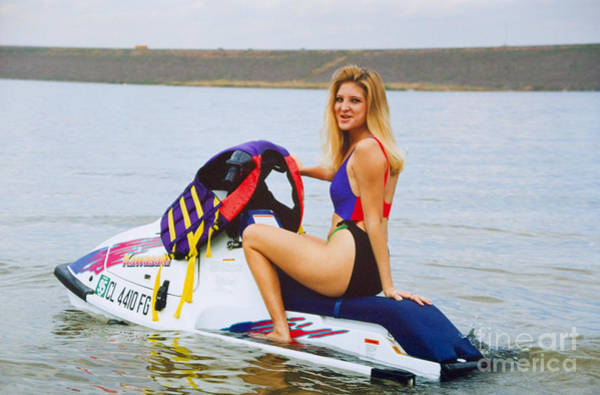 Photograph - Beautiful Female Model On A Jet Ski by Steve Krull
