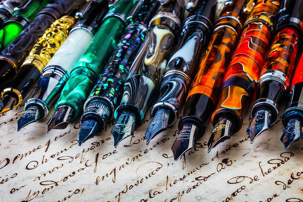 Ink Pen Photograph - Beautiful Fountain Pens by Garry Gay