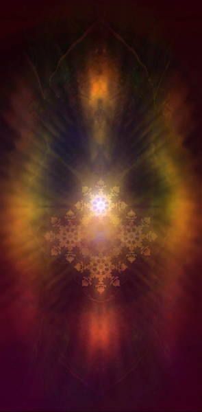 Emanate Painting - Beautiful Fractal Ornament Radiating White Light And Colorful Auric Lights  by Jozef Klopacka