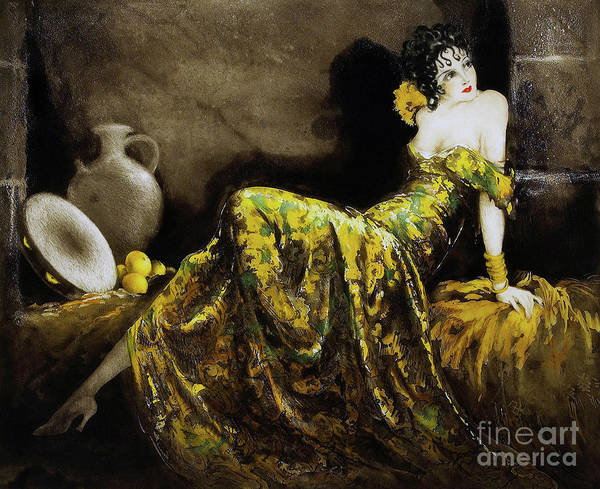 Wall Art - Painting - Beautiful French Art Deco Woman Flapper Fashion Illustration by Tina Lavoie