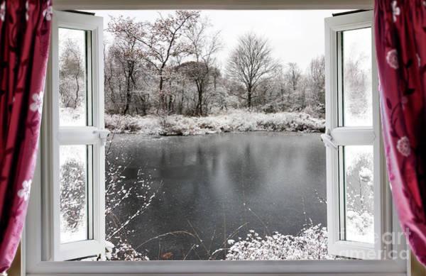 Window Dressing Wall Art - Photograph - Beautiful Frozen Lake Scene Through An Open Window by Simon Bratt Photography LRPS