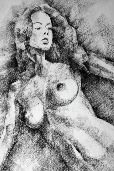 Drawing - Beautiful Girl Close Up Standing Pose Art Drawing by Dimitar Hristov