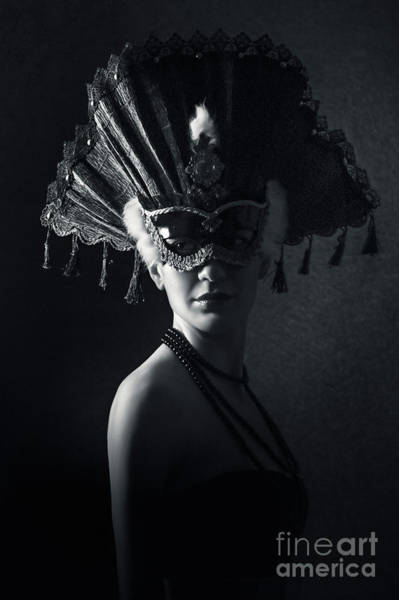 Photograph - Beautiful Girl With Venetian Carnival Mask In Black And White by Dimitar Hristov