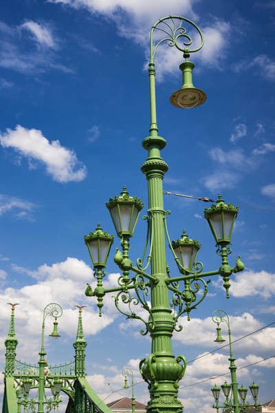 Photograph - Beautiful Green Light Post Budapest Liberty Bridge by Matthias Hauser