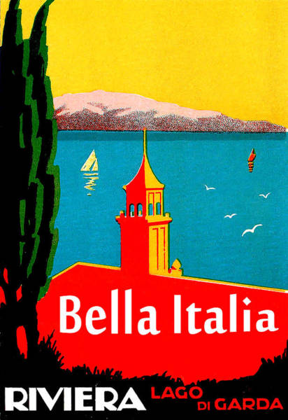 Beautiful Scenery Painting - Beautiful Italy, Lake Garda, Riviera by Long Shot