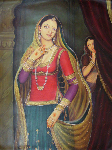 Wall Art - Painting - Beautiful Maharani Of Rajaput Traditional Portrait Oil Painting On Canvas by B K Mitra