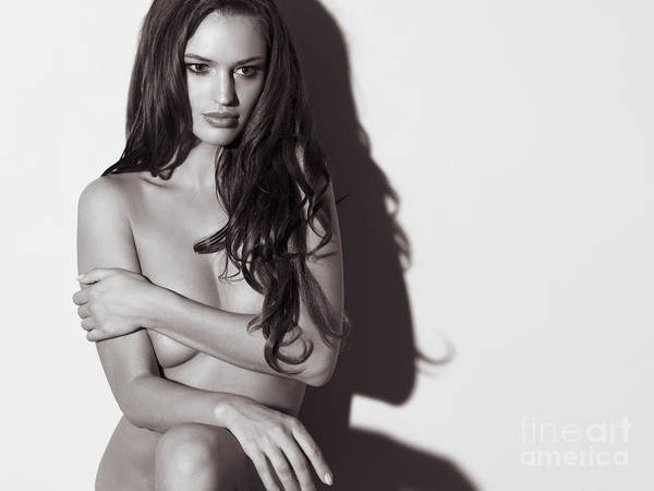 Erotism Photograph - Beautiful Naked Woman Standing At A Wall by Oleksiy Maksymenko