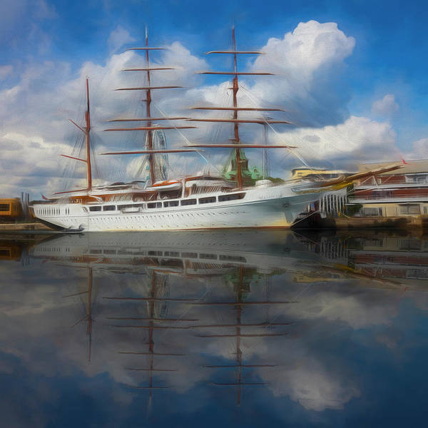 Photograph - Beautiful Nautical Morning Watercolor Painting by Debra and Dave Vanderlaan