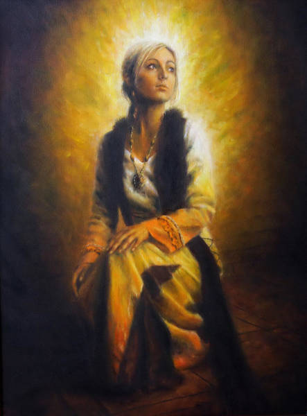 Emanate Painting - Beautiful Oil Painting Of A Young Woman In Historical Dress On Canvas Full Of Inner Light And Radia by Jozef Klopacka
