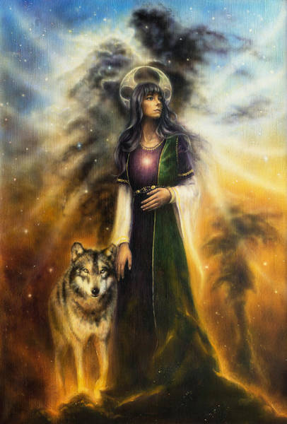 Emanate Painting - Beautiful Oil Painting On Canvas Of A Mystical Fairy Priestess With A Wolf By Her Side by Jozef Klopacka