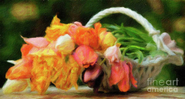 Wall Art - Digital Art - Beautiful Orange And Yellow Flowers In A White Basket by Amy Cicconi