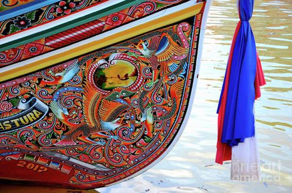 Photograph - Beautiful Painted Asian Dragon And Floral Art On Hull Of Thai Fishing Boat Pattani Thailand by Imran Ahmed