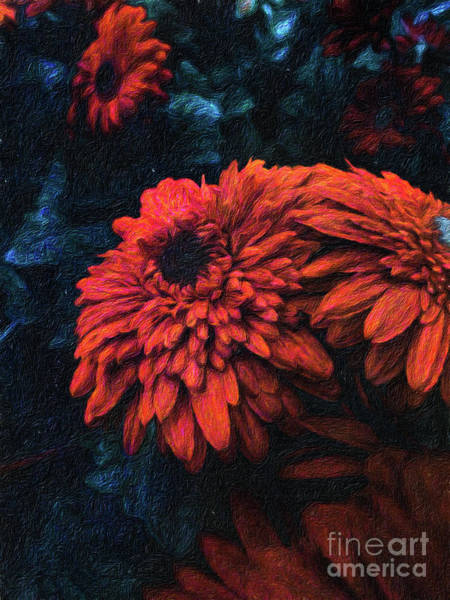 Wall Art - Digital Art - Beautiful Red Flowers Against A Moody Dark Background by Amy Cicconi