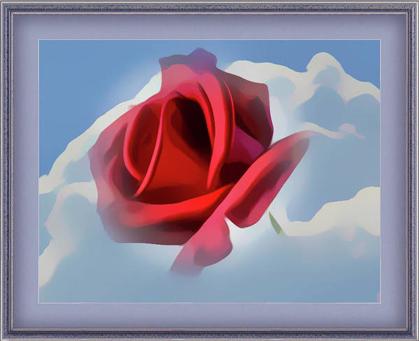 Beautiful Red Rose Cuddled By Cumulus Art Print