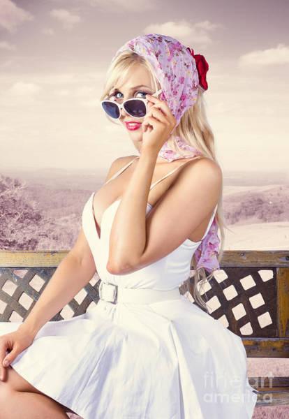 Photograph - Beautiful Retro Fashion Girl. Australian Landscape by Jorgo Photography - Wall Art Gallery