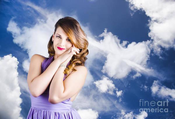 Blue Hair Photograph - Beautiful Romantic Woman In Love Heart Romance by Jorgo Photography - Wall Art Gallery
