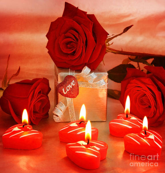 Wedding Bouquet Photograph - Beautiful Roses With Gift Box And Heart by Anna Om