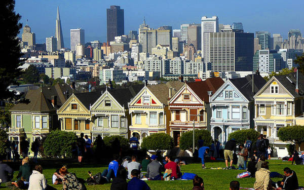 Photograph - Beautiful San Francisco - Alamo Square Victorian Homes by Peter Potter