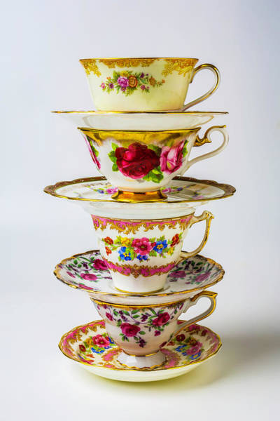 Saucer Photograph - Beautiful Stacked Tea Cups by Garry Gay