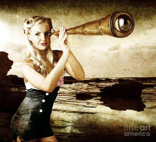 Wall Art - Digital Art - Beautiful Vintage Woman With Steampunk Telescope by Jorgo Photography - Wall Art Gallery