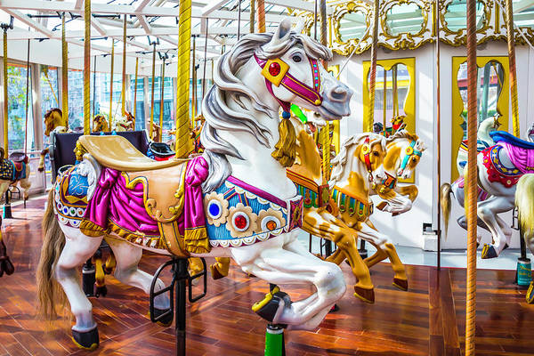 Photograph - Beautiful White Carrousel Horse by Garry Gay