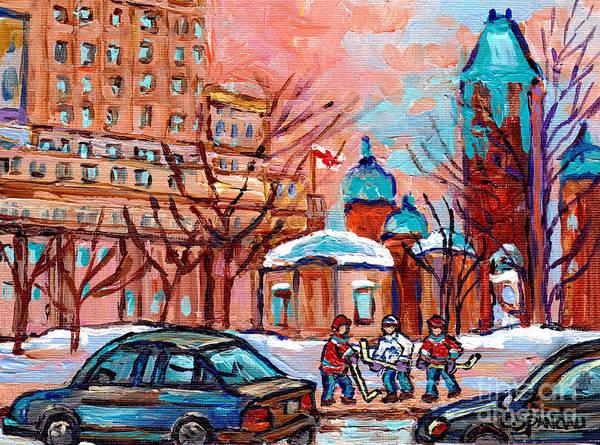 Painting - Beautiful Winter Day Downtown Montreal Dominion Square Hockey Art Canadian Scene Carole Spandau      by Carole Spandau
