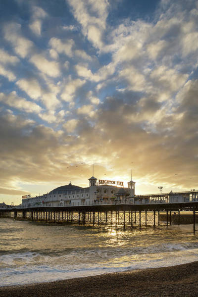 Wall Art - Photograph - Beautiful Winter Sunset Landscape Of Brighton Pier On The South  by Matthew Gibson