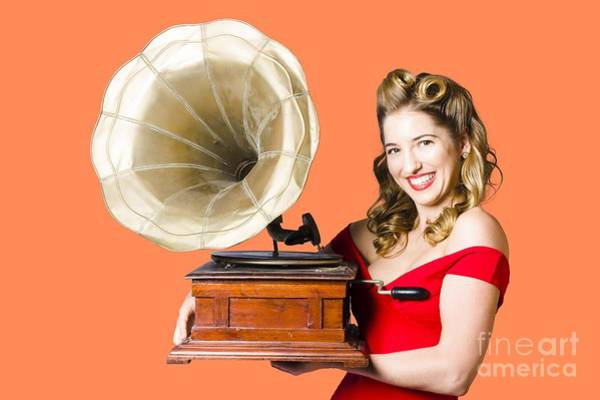 Vivacious Wall Art - Photograph - Beautiful Woman With Gramophone Isolated On White by Jorgo Photography - Wall Art Gallery