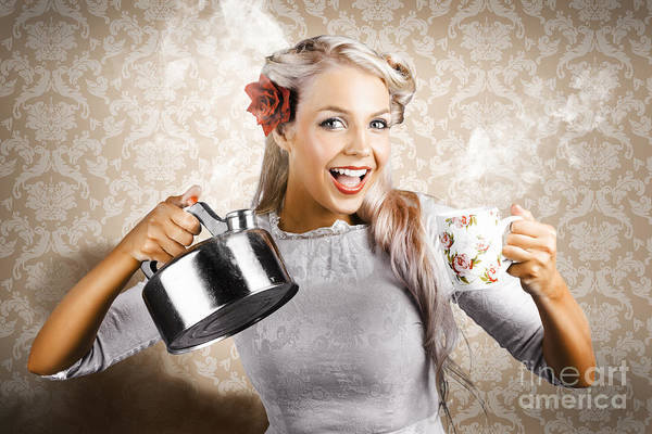 Wall Art - Photograph - Beautiful Young Retro Woman With Cup Of Coffee by Jorgo Photography - Wall Art Gallery
