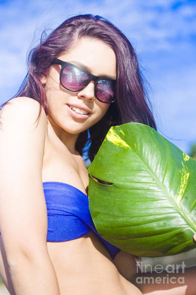Wall Art - Photograph - Beautiful Young Woman With Green Leaf by Jorgo Photography - Wall Art Gallery
