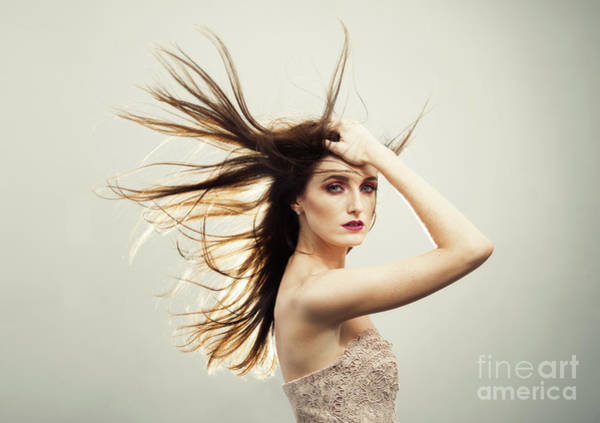 Wall Art - Photograph - Beautiful Young Woman With Windswept Hair by Amanda Elwell