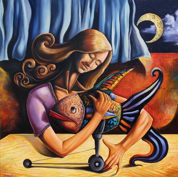 Wall Art - Painting - Beauty And The Fish Having An Unconditional Agreement Under The Yellow Moon by Darwin Leon