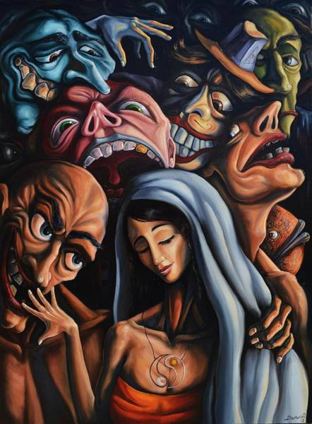 Wall Art - Painting - Beauty And The Freaks by Darwin Leon
