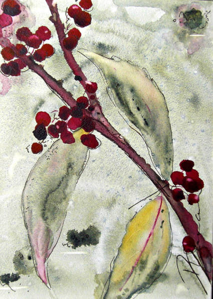 Painting - Beauty Berry Branch by Dawn Derman