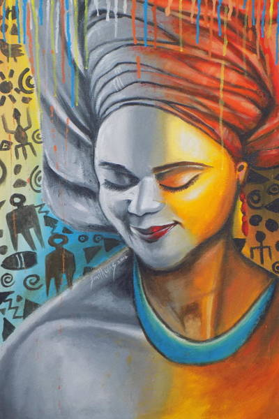 Lagos Painting - Beauty Of African Woman by Olaoluwa Smith