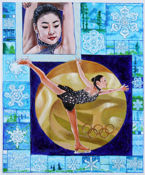 Figure Skating Painting - Beauty On Ice - Yu-na Kim by John Lautermilch