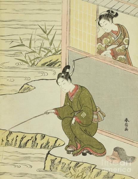 Angler Art Painting - Beauty Teasing A Young Man Fishing by Suzuki Harunobu