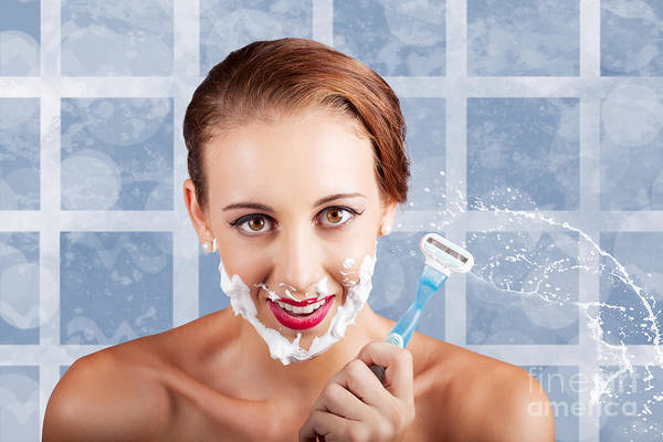 Shaved Photograph - Beauty Woman In Bathroom With Skincare Products by Jorgo Photography - Wall Art Gallery