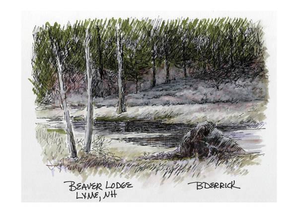Mixed Media - Beaver Lodge by Betsy Derrick