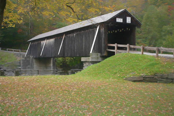 Photograph - Beaverkill Covered Bridge Painting 6 by Ericamaxine Price