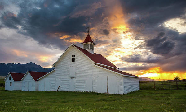 Wall Art - Photograph - Beckwith Ranch At Sunset With Crepuscular Rays And Virga by Bridget Calip