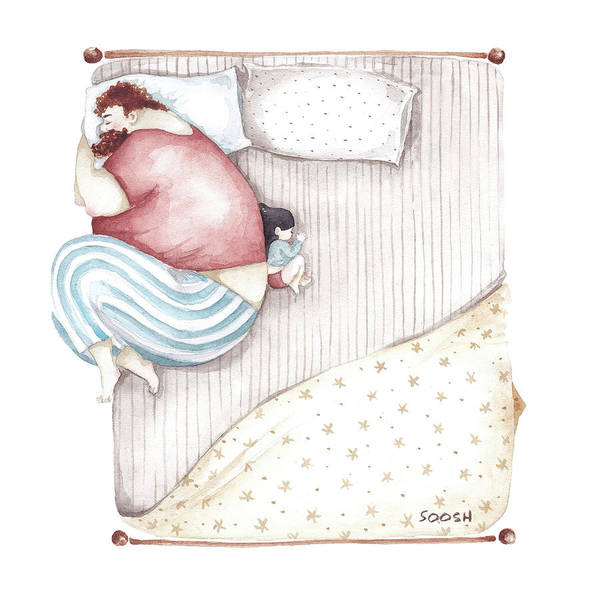 Watercolor Painting - Bed. King Size. by Soosh