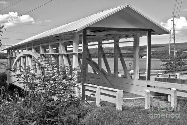 Osterburg Photograph - Bedford Bowser's Covered Bridge Black And White by Adam Jewell